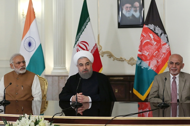 The deal to construct 628-km railway line from the port city of Chabahar to Zahedan province was part of a series of bilateral agreements signed between India and Iran in May 2016 [File: Handout via AFP]
