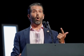 Twitter suspended the account of Donald Trump Jr for 12 hours because of violations to the platform's misinformation policy [File: Carlos Barria/Reuters]