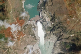 A satellite image of the Wudongde Dam, which began producing power last week, and could be among the last of China's mega hydroelectric projects [Bloomberg]