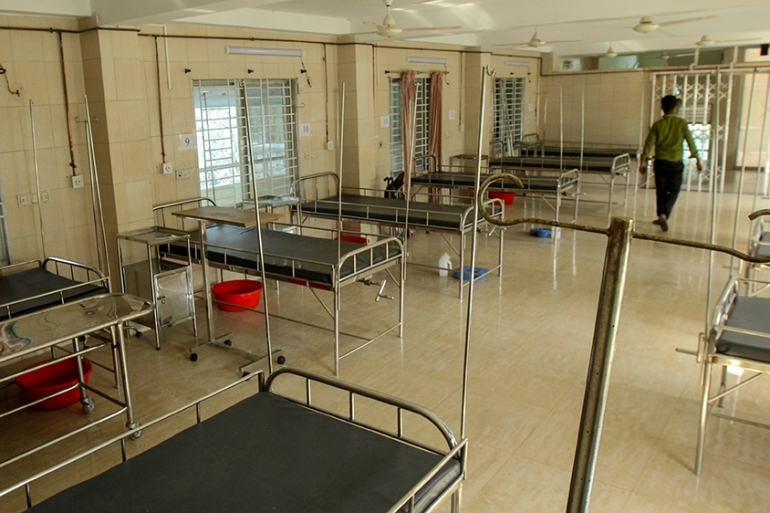 This photograph taken on July 9 shows empty beds at a COVID-19 ward in a hospital set up by Al Manahil Welfare Foundation Chittagong [Shafiqul Aalam/AFP]