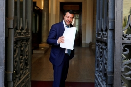 It is the second time Salvini has lost parliamentary immunity over a migration charge this year [Remo Casilli/Reuters]