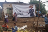 A poster of the slain Ethiopian political singer Haacaaluu Hundeessaa is seen near his hometown of Ambo, Ethiopia on July 22, 2020 [Reuters/Dawit Endeshaw]