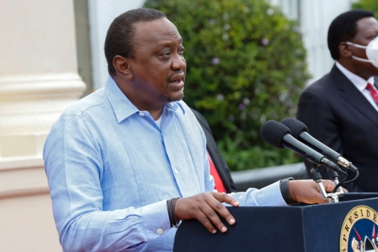 Kenyatta asked police to enforce the curfew rule regardless of who was found breaking it [Presidential Press Service/Handout via Reuters]