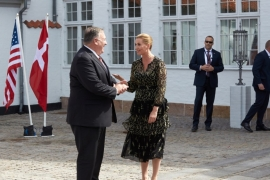 Pompeo was welcomed by Danish Prime Minister Mette Frederiksen at Marienborg Castle [Thibault Savary/Pool/AFP]