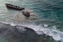 The front part was supposed to be towed away on Saturday and sunk at least 1,000 kilometres away from Mauritius, but bad weather delayed the operation. [AFP]