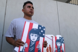 Asylum seeker and former immigrant detainee Mateo Lemus Campos attends a protest against conditions in Adelanto Immigration Detention Center, outside ICE headquarters in Los Angeles, California [Lucy Nicholson/Reuters]