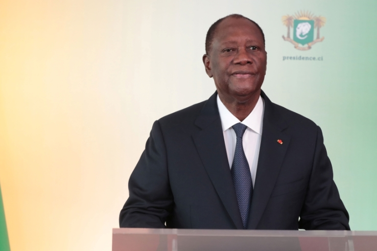 Alassane Ouattara delivers an address to the nation in Abidjan, Ivory Coast, on August 6, 2020 [Press Service of the Presidency/Handout via Reuters]