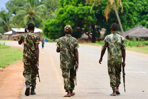Soldiers from the Mozambican army patrol the streets in Mocimboa da Praia [File: AFP]