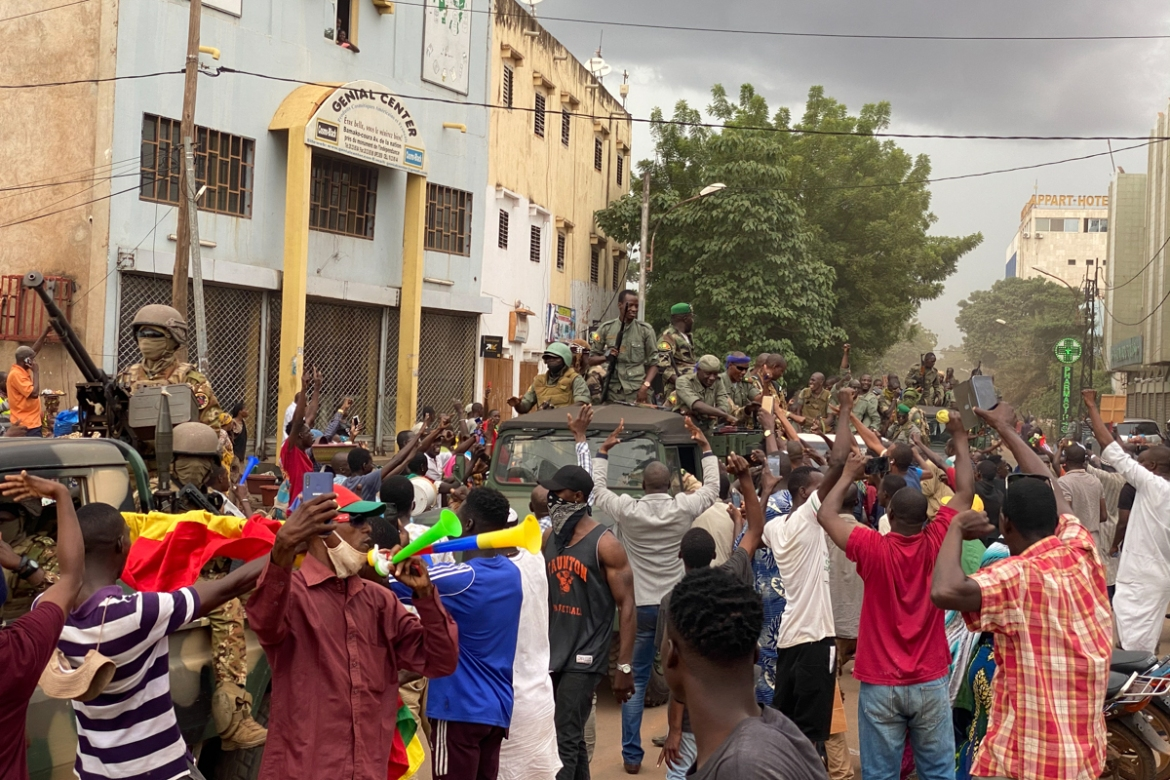 'We have come out today to call for the total resignation of president Keita because we heard there were shots fired by the military and we came out to help our soldiers to get rid of the president,' a protester said. [Malik Konate/AFP]