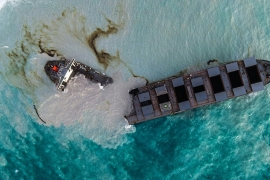 MV Wakashio bulk carrier that had run aground and broke into two parts near Blue Bay Marine Park, Mauritius [AFP]