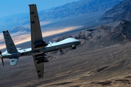 An MQ-9 Reaper remotely piloted drone aircraft performs aerial manoeuvres in Nevada, US [File: Cory D Payne via Reuters]