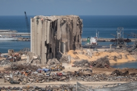 A view of destroyed Beirut port silos after the deadly blast on August 17, 2020 in Beirut, Lebanon [Chris McGrath/Getty Images]