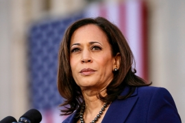 Groups defending United States Senator Kamala Harris say women are often unfairly criticised as overly emotional, weak or unqualified, or for their appearance or demeanor in a way that men are not [File: Elijah Nouvelage/Reuters]