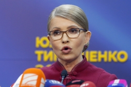 Former Ukrainian Prime Minister Yulia Tymoshenko speaks during her press conference in Kiev, Ukraine, Monday, April 2, 2019. Timoshenko has accused incumbent Ukrainian President Petro Poroshenko of vote rigging in the first round of the March 31 presidential election, but she is not planning to challenge the results as she believes the courts are also controlled by the president. (AP Photo/Efrem Lukatsky) [The Associated Press]