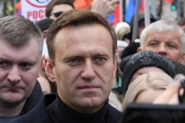 A plane with German specialists and equipment necessary to transfer Navalny for treatment in Berlin landed at Omsk airport on Friday morning [File: Kirill Kudryavtsev/AFP]