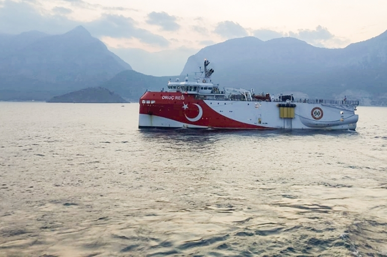 The Turkish seismic research vessel Oruc Reis [File:Turkish Ministry of Energy/Handout via Reuters]