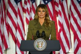 Melania Trump delivered a live address to the largely virtual 2020 Republican National Convention from the Rose Garden of the White House in Washington, DC. She called for unity in a time of division [Kevin Lamarque/Reuters]