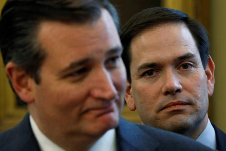 United States Senators Ted Cruz (left) and Marco Rubio (right) attend a signing ceremony in the Oval Office of the White House in Washington, DC, the US [File: Kevin Lamarque/Reuters]
