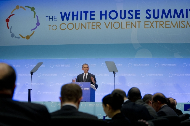 Former United States President Barack Obama speaks at the Countering Violent Extremism (CVE) Summit at the State Department in Washington, DC on February 19, 2015 [File: AP/Carolyn Kaster]