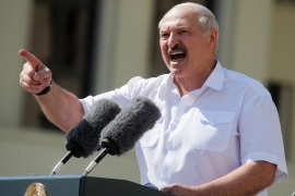 Lukashenko addresses his supporters gathered at Independent Square of Minsk on Sunday [Dmitri Lovetsky/AP Photo]