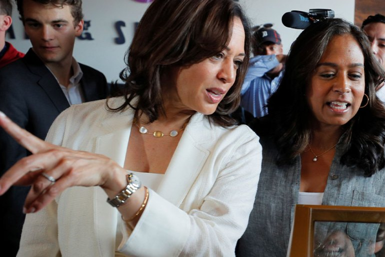 Democratic 2020 United States vice presidential candidate Kamala Harris (left) and her sister, Maya (right) are the daughters of Indian and Jamaican-born US immigrants. In the US, their Indian-American mother raised them to be strong Black women [File: Brian Snyder/Reuters]