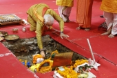 Indian Prime Minister Narendra Modi performs rituals during the groundbreaking ceremony of the new temple in Ayodhya, India, Aug. 5, 2020 [AP Photo/Rajesh Kumar Singh]