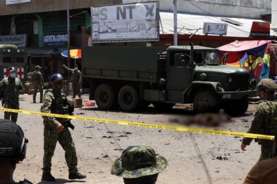 Authorities said a motorcycle loaded with improvised explosive device went off near a military truck in Jolo [Nickee Butlangan/AFP]