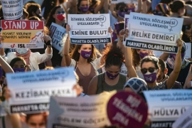 Thousands of women in Turkey took to the streets on August 5 to demand that the government does not withdraw from a landmark treaty on preventing domestic violence [Yasin Akgul/AFP]