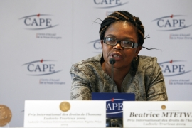 Zimbabwean lawyer Beatrice Mtetwa, accused of running Facebook pages critical of the justice system, says the government's treatment of her is having a 'chilling effect' on other lawyers [File: Lucas Dolega/EPA]