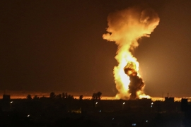 Fighter jets, attack helicopters, and tanks struck a number of Hamas targets, according to Israel [Said Khatib/AFP]