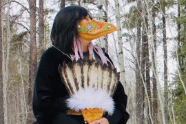 Delores Gull, inspired by 17th century plague masks and her Cree heritage, packed traditional medicines into the beak of her mask to ease the stresses of the pandemic [Photo courtesy of Delores Gull]