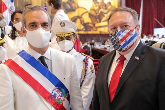 US Secretary of State Mike Pompeo attended the swearing in of Dominican President Luis Abinader [The Associated Press]