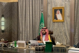 Saudi Crown Prince Mohammed bin Salman attends a virtual cabinet meeting in Riyadh [File: Saudi Press Agency via Reuters]