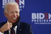 United States Democratic presidential candidate Joe Biden smiles while speaking during a round table on economic reopening with community members on June 11 in Philadelphia [AP Photo/Matt Slocum]