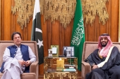 Saudi Arabia's Crown Prince Mohammed bin Salman meets with Pakistani Prime Minister Imran Khan in Riyadh, Saudi Arabia on October 15, 2019 [File: Reuters]