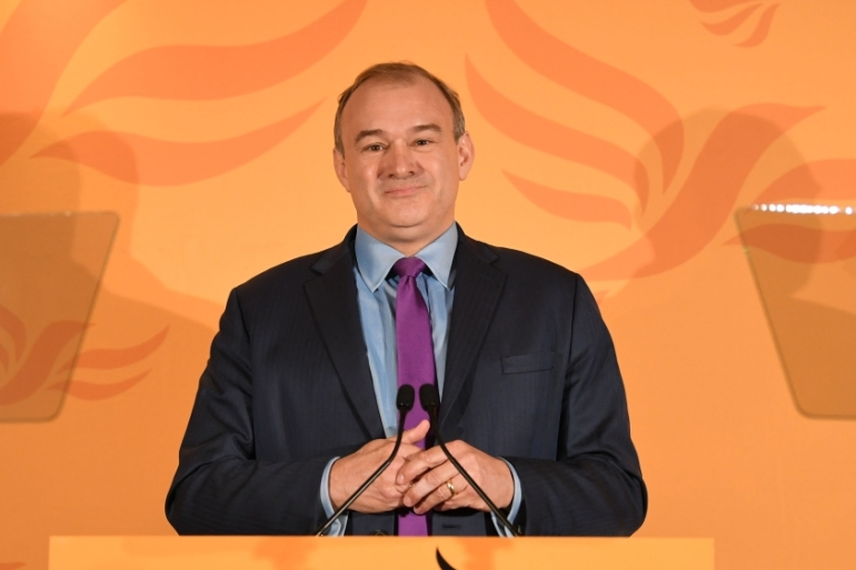 Ed Davey speaks after being elected as the leader of the Liberal Democrats [Stefan Rousseau/Pool/Getty Images]