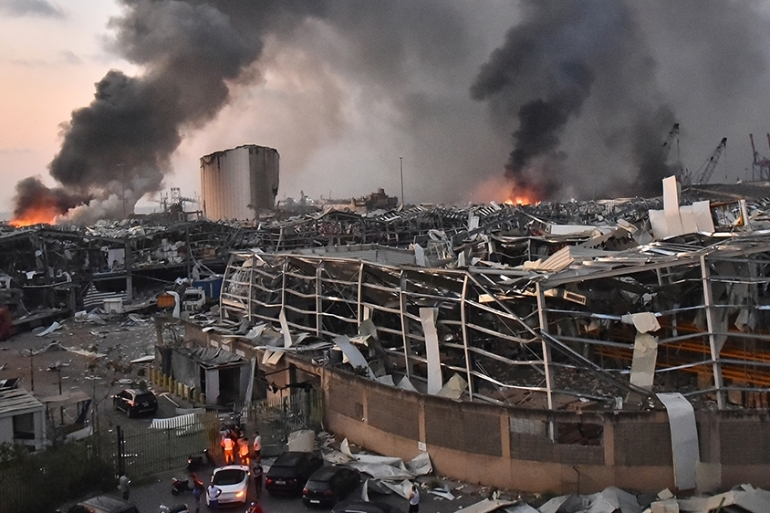 A general view of the scene following the explosion at the port of Lebanese capital, Beirut [AFP]