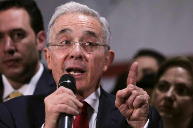 Alvaro Uribe is accused of founding a paramilitary group during decades-long conflict with the former Revolutionary Armed Forces of Colombia [File: Luisa Gonzalez/Reuters]