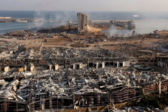 Nearly 2,700 tonnes of ammonium nitrate stored at Beirut's port exploded on August 4, killing 193 people. [Mohamed Azakir/Reuters]