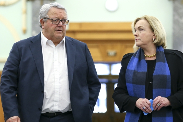 National Party Leader Judith Collins and Deputy Gerry Brownlee arrive at a press conference at Parliament,  August 12, 2020, Wellington, New Zealand [Hagen Hopkins/Getty Images]