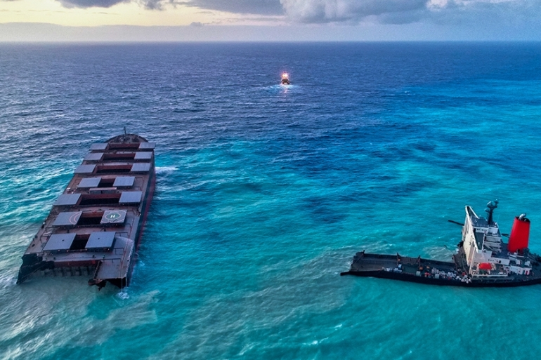 MV Wakashio, the Japanese-owned bulk carrier that ran aground off the southeast coast of Mauritius earlier this month [Reuben Pillay/EPA]