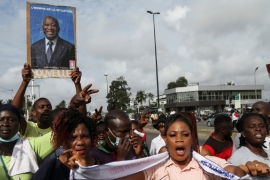 Supporters of Laurent Gbagbo alleged the decision to block him from running was political [Luc Gnago/Reuters]