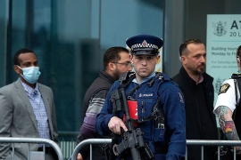 Family members of victims of the mosque attacks arrive for the start of gunman Brenton Tarrant''s sentencing outside the High Court in Christchurch [Martin Hunter/AAP Image via Reuters]
