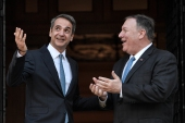 Greek Prime Minister Kyriakos Mitsotakis, who is hosting Pompeo at his family home, wants closer military ties with the US [File: Louisa Gouliamak/AFP]