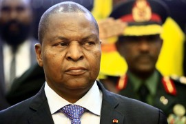 Faustin-Archange Touadera has blamed former president Francois Bozize for deadly electoral unrest [File: Ashraf Shazly/AFP]