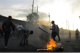 In this October 30, 2017 file photo Kenyan opposition supporters are seen as they burn tyres to protest against President Uhuru Kenyatta's election victory. [Bryan Jaybee/ Anadolu Agency]