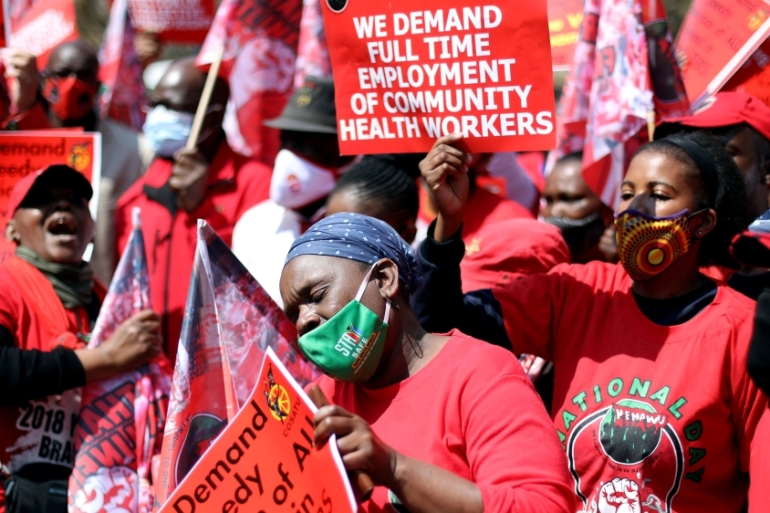 South Africa healthcare workers protest, threaten strike   Coronavirus  pandemic News   Al Jazeera