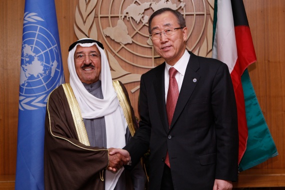 Kuwait's Sheikh Sabah with former UN Secretary General Ban Ki-moon at the United Nations headquarters in New York on November 11, 2008. [Chip East/Reuters]