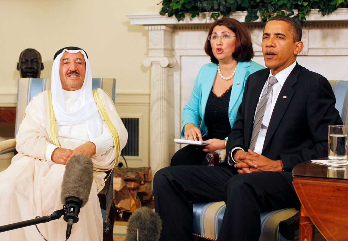 Former US President Barack Obama, right, with Sheikh Sabah in the Oval Office of the White House on August 3, 2009. [Jason Reed/Reuters]