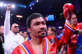 Pacquiao's office said the fight could be staged in the Middle East after the coronavirus pandemic abates [File: Joe Camporeale/USA Today via Reuters]